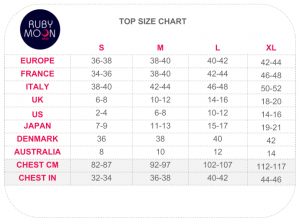 RubyMoon Sizing Chart_Top